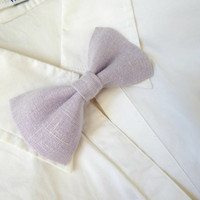 Wedding Bow Tie Pins in Lilac Linen - Groom & Best Men Bow Pins - Page Boys / Bridesmaid / Flower Girls Set of Bow Tie Pins