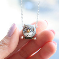 $38.00 Henry the owl necklace Sterling Silver by MochasFriends on Etsy