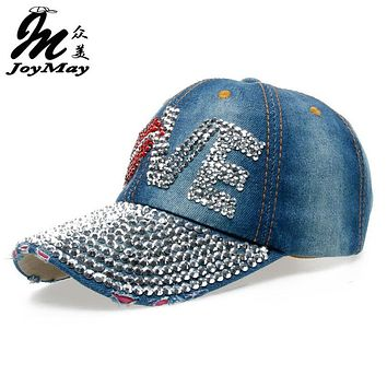 High quality JoyMay Hat Cap Fashion Leisure Woman cap Love Lips Rhinestones Vintage Jean Cotton CAPS Baseball Cap B131