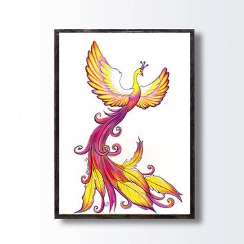 Phoenix Rising Original Colored Pencils Drawing, Phoenix Illustration, Tribal Phoenix Wall Decor, Fantasy Bird Drawing, Living Room Decor