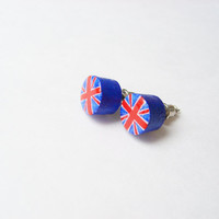 Patriotic British Jewelry  - Wooden Stud Earring English Flag Earrings Union Jack