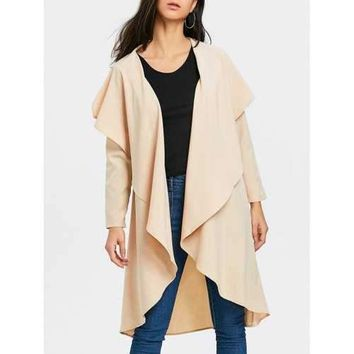 Turndown Collar Asymmetric Duster Coat - Apricot M