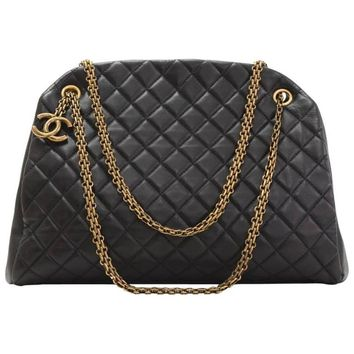 Chanel Mademoiselle Black Quilted Calfskin Leather Shoulder Bowling Bag