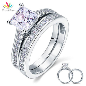 1.5Ct Princess Cut Created Diamond Solid 925 Sterling Silver 2-Pc Wedding Promise Engagement Bridal Ring Set Jewelry CFR8009S