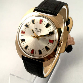"Vintage Men's  wristwatch ""FLIGHT""-(Poljot) with date. 17 jewels, silver dial with colorful numerals.New Leather band!"