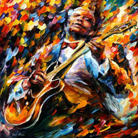 "BB King — PALETTE KNIFE Oil Painting On Canvas By Leonid Afremov - Size: 30"" x 30"" (75cm x 75cm)"