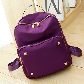 Stylish College Back To School Comfort Hot Deal On Sale Korean Rivet Leather Bags Casual Nylon Backpack [8384133383]