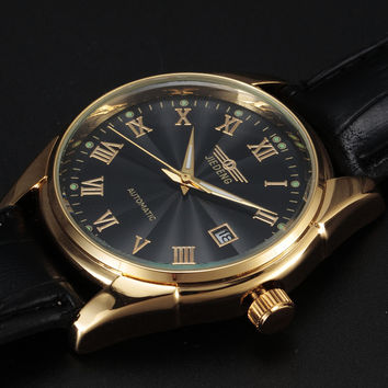 Automatic gold tone Watch with Leather Band & date