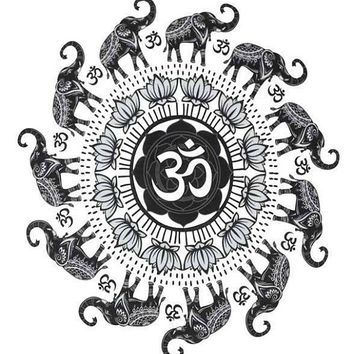 Elephant Om Aum Mandala art yoga wall hanging home decor wall decor, dorm room decor, nursery decor, gypsy, hippy, circle, india, gift, BOHO