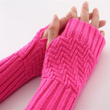 Knit Serpentine Gloves Arm Warmers, Fingerless Gloves.
