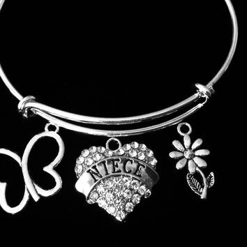 Niece Jewelry Expandable Crystal Heart Silver Charm Bracelet Adjustable Wire Bangle One Size Fits All Gift Trendy Butterfly Daisy