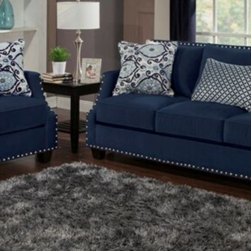Benchley Odyssey S/L Navy 2 pc navy collection coal color fabric upholstered sofa and love seat with nail head trim