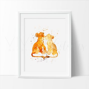 Lion King Simba + Nala Watercolor Art Print