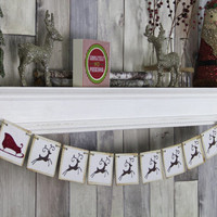 CHRISTMAS DECORATION - Reindeer and Sleigh banner - Christmas Photo Prop - Christmas Sign - Christmas Bunting - Christmas Garland