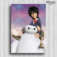 Baymax and Hiro Hamada print big hero 6 poster disney gift