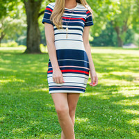 Stripe Till You Drop Dress, Navy