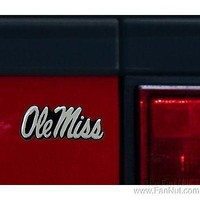 Mississippi Rebels Silver Chrome Auto Emblem Decal Ole Miss Decal University of
