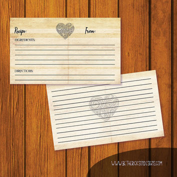 Wedding Recipe Card / Recipe Card / Bridal Shower Recipe Card / Vintage Heart Recipe Card / Instant Download / 3x5 Recipe