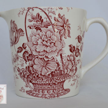 24 oz Red / Pink English Transferware Ironstone Measuring Pitcher Charlotte Floral Toile Roses