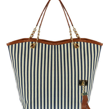 Navy Striped Tassel Detail Shoulder Bag