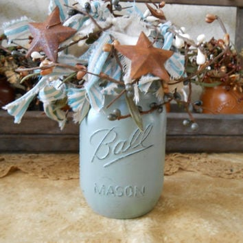 Hand Painted and Distressed Mason Jar Arrangement-Country-Farmhouse-Cottage-Primitive-Lodge-Rag & Berry