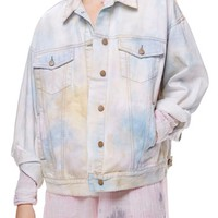 Free People Tie Dye Denim Trucker Jacket | Nordstrom