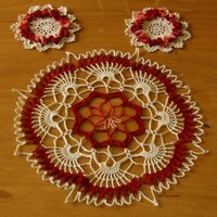 Graphic Centerpiece Doily 3 piece Set - Copper Browns and Cream Design
