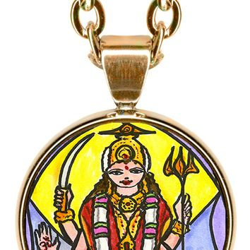 "Goddess Parvati Mother of Ganesh for Love & Devotion 5/8"" Mini Stainless Steel Pendant with Chain"
