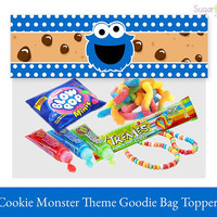 Cookie Monster Toppers, Cookie Monster Bag Topper, Cookie Monster Birthday Printable, Cookie Monster Party Decorations, Cookie Monster Party