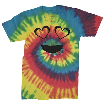 Emoticon Heart Eyes Smile Face Mens Tie-Dye T-shirt