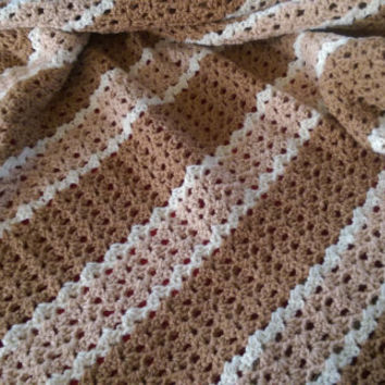 "Crochet Lap blanket Off White, Tan, & Brown  42"" X 38"""