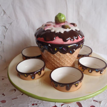Serving Plate with Ice Cream Bowl and Cones , Ceramic Serving Bowl and Dishes