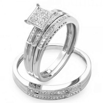 0.20 Carat (ctw) Round Diamond Men & Women's Micro Pave Engagement Ring Trio Bridal Set 1/5 CT
