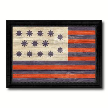 Guilford Courthouse North Carolina Revolutionary War Military Flag Texture Canvas Print with Black Picture Frame Gift Ideas Home Decor Wall Art