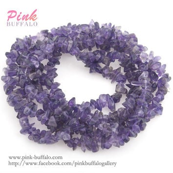 amethyst chips beads small size 3-6mm strand | amethyste semi precious gemstone