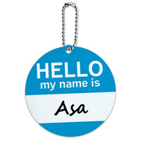 Asa Hello My Name Is Round ID Card Luggage Tag