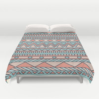 Tribal #4 (Coral/Aqua) Duvet Cover by haleyivers