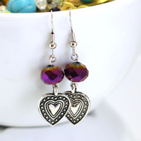 Purple Heart Earrings - Womens Fashion Earrings made with purple crystal beads and heart charms - HANDMADE BY ME - Christmas Sale