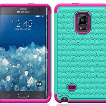 Galaxy Note Edge Case, Crystal Rhinestone Studded Hybrid Dual Layer Shock Resistant Case for Samsung Galaxy Note Edge - Teal/Hot Pink