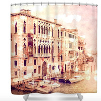 Venice Italy Romantic Hearts Polyester Fabric Shower Curtain