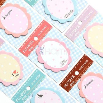 VONC1Y Flower Kawaii Sticker Cute Scrapbooking Stickers Post It Stationary Japanese Memo Pads Gift Notepads Kids School Office Supplies