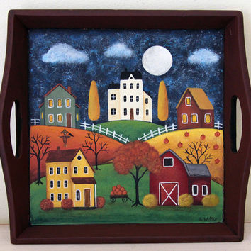 Halloween Folk Art Hand Painted Wood Tray, Saltbox Houses, Red Barn,  Colorful Fall Scene, Pumpkins, Autumn Home Decor, Gift, MADE TO ORDER