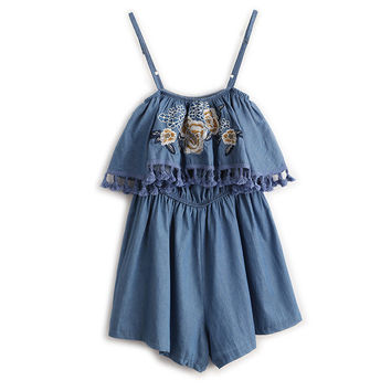 Summer 2016 Playsuit Embroidery Flowers Elegant Shorts Blue Jumpsuit Bodysuit Denim Overalls Rompers Womens Ladies Jeans