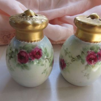 Antique Royal Austrian Pink Roses Porcelain Salt and Pepper Shakers