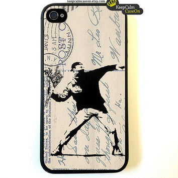 iPhone 4 Case Banksy Flower Chucker Fitted Case by KeepCalmCaseOn
