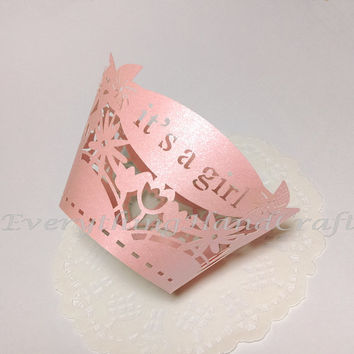 Cupcake Liner | Pink Cupcake Wrapper | Filigree Decorations Liner Party | Baby Shower Birthday Wedding | It's a Girl Pearl (12pcs) (#CP16PK)