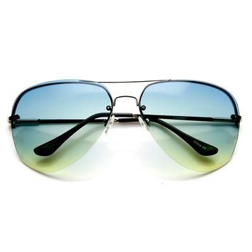 Large Rimless Wire Metal Teardrop Color Tint Aviator Sunglasses