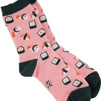 Sock It To Me Sushi Crew Socks, Pink/Green, One Size