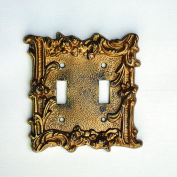 Light Switch Plate Covers Ornate Roses and Flourishes Gold Tone on Brass Double Switchplate 1960s Romantic Bedroom Decor Buy One or Both