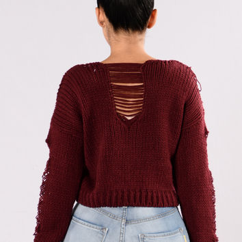 Storm Warning Sweater - Burgundy